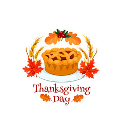 thanksgiving day autumn holiday pumpkin pie symbol vector image