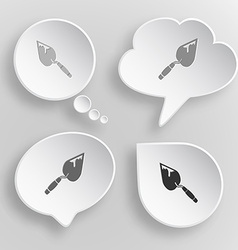Trowel white flat buttons on gray background vector