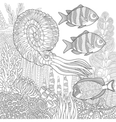 Underwater nautilus and fish vector image vector image