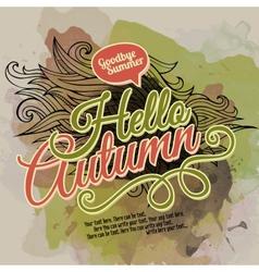 Watercolor paint autumn design vector