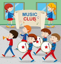 Children in the band marching vector