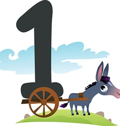 Collection number for kids farm animals - number 1 vector