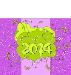2014 - happy new year card in neon style vector