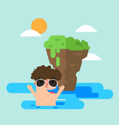 Man swimming in the sea during summer vector