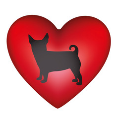 Red heart shape with black figure small dog animal vector