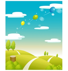 Balloons flying green landscape vector