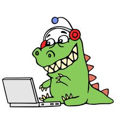 Cartoon green dinosaur sitting at the silver vector