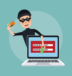 Scene color laptop with password window and thief vector