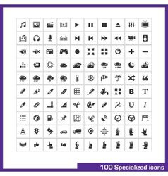 100 specialized icons set vector