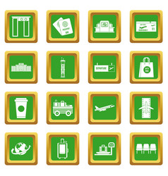 airport icons set green vector image