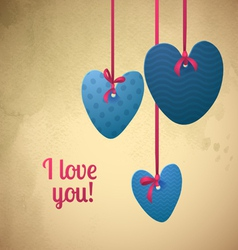 Happy valentines day paper retro hearts vector
