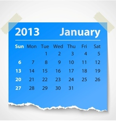 2013 calendar january colorful torn paper vector image vector image