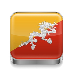 Metal icon of bhutan vector