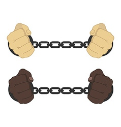 Male hands in strained steel handcuffs vector