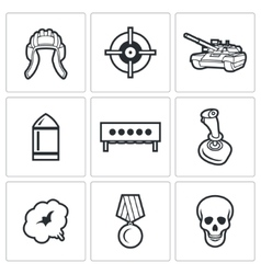 Tank biathlon icons vector