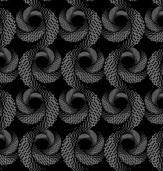 Repeating ornament of textured circles on dark vector