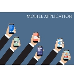 Mobile application concept hands holding phones vector
