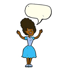 Cartoon happy 1950s woman with speech bubble vector