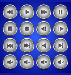 Matallic media player audio video icon circle vector