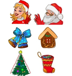 Christmas characters and gifts vector image