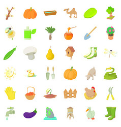 Agriculture farm icons set cartoon style vector