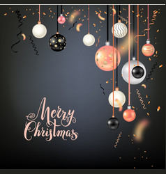 beautiful christmas balls on black vector image vector image