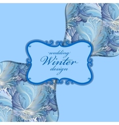 Blue centre label design winter frozen glass vector
