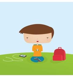 Boy Meditating vector image