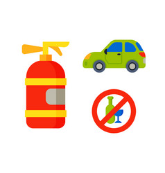 Car vehicle transport type with fire extinguisher vector