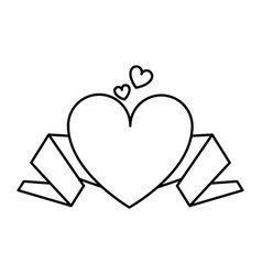 Cartoon heart and ribbon banner love valentines vector