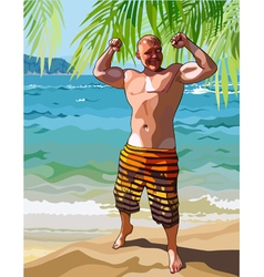 Cartoon male athlete posing on a tropical shore vector