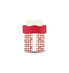 Christmas gift box with bow and ribbon vector image vector image