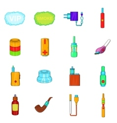 Electronic cigarettes icons set cartoon style vector image vector image