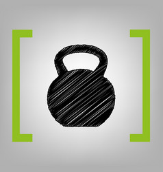 Fitness dumbbell sign black scribble icon vector