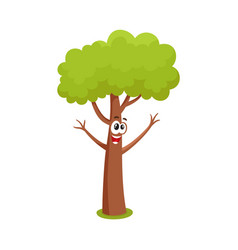 Funny comic tree character raising branchies as vector