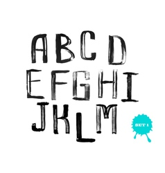Grunge uneven handwritten alphabet set 1 vector image