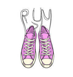 hand drawn graphic sport shoes sneakers trainers vector image vector image