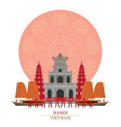 hanoi vietnam with decoration background vector image vector image