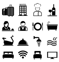 hotel resort and hospitality icon set vector image vector image
