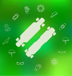 Icons for longboard and accessories vector
