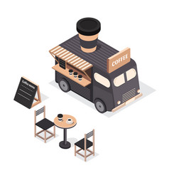 isometric food trucks vector image