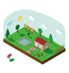 Isometric house3D Village landscape with sky vector image