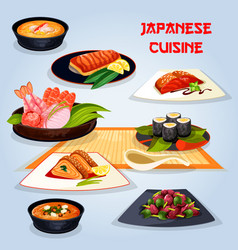 Japanese cuisine popular dishes for lunch icon vector