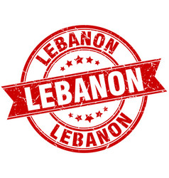 Lebanon red round grunge vintage ribbon stamp vector