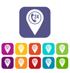 Map pointer with phone handset icons set flat vector