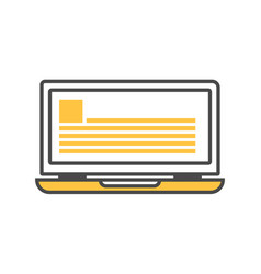 notebook computer isolated linear icon vector image