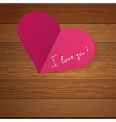 Origami heart on wooden with copy-space EPS8 vector image