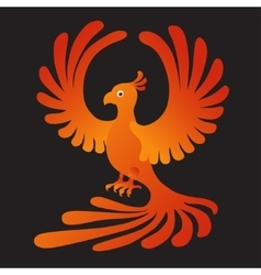 Phoenix on the black background Fire-bird vector image vector image