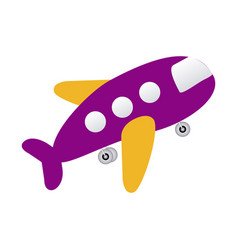 Purple toy airplane fly icon vector