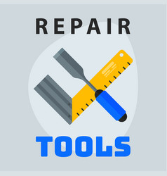 Repair tools ruler screwdriver icon creative vector